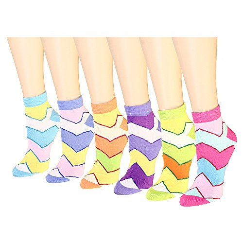12-pack-womens-ankle-socks-assorted-colors-size-9-11-zigzag