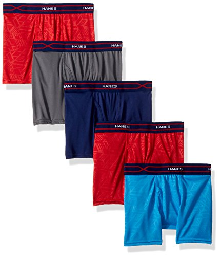 Hanes Boys' X-Temp Performance Cool Boxer Brief 5-Pack, Assorted Medium