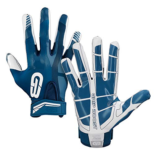 Grip Boost Football Gloves Mens #1 Grip Stealth Pro Elite - Adult & Youth Football Glove Sizes (Navy Blue, Youth Large)