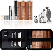 29 peças de kit de ferramentas de arte de desenho e esboço profissional com lápis de grafite, lápis de carvão,
