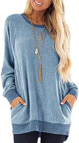 Womens Raglan Long Sleeve Tunic Shirt with Pockets Buttons Casual Top Blouse