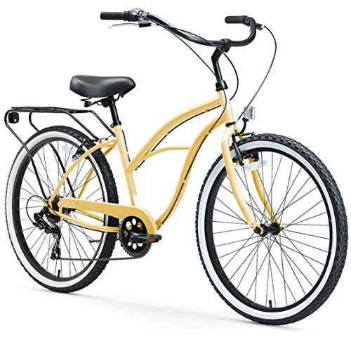 Review sixthreezero Around The Block Women's 7-Speed Beach Cruiser Bicycle, 26 Wheels, Cream with B...