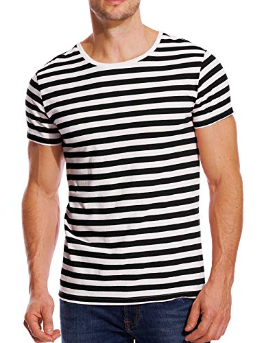 Striped T Shirt for Men Crew Neck Stripes Cotton Tee Slim Fit Top Black White M