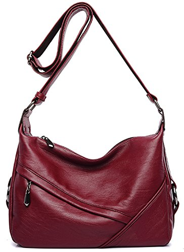 Women's Retro Sling Shoulder Bag from Covelin, Leather Crossbody Tote Handbag Wine Red Red Leather Purse Handbag