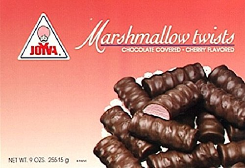 Joyva Chocolate Covered Marshmallow Twists, Cherry Flavored, 9-Ounce (Pack of 2) ()