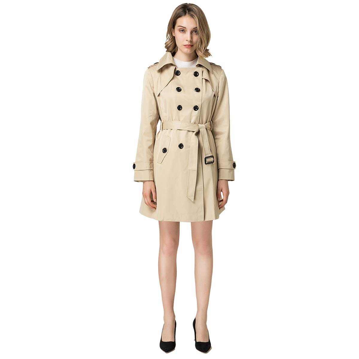 Blostirno Women's Notched Lapel Long Jacket Double Breasted Mid Length Trench Coat with Belt (Khaki US Size-6 / Asian Size L)