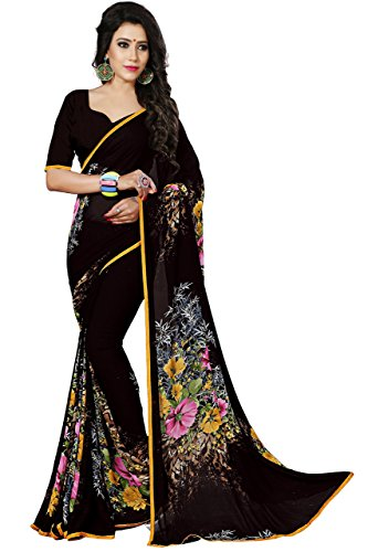 Print Saree - Women's Faux Georgette Floral Print Saree Coffee 6.30 m With Blouse Piece by Kalaa Varsha