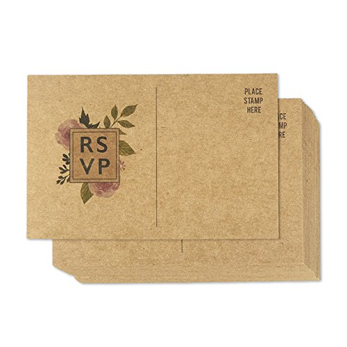50 Pack RSVP Postcards, Kraft Blank Response Card, Wedding Return Cards - RSVP Reply for Parties and Receptions - Self Mailer Mailing Side Postcards 50 Cards Per Pack Postage Saver (Rustic Wedding Invitation Kits)