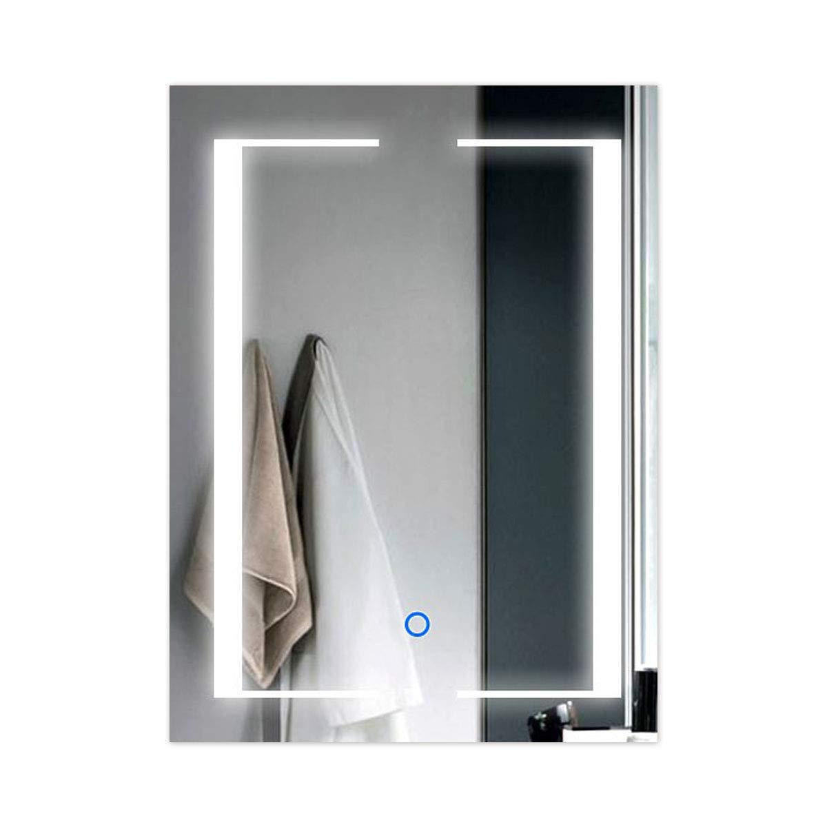 24 Inch * 32 Inch Vertical LED Wall Mounted Lighted Vanity Bathroom Silvered Mirror with Touch Button (B-CL011) Decoraport