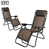 PARTYSAVING Infinity Zero Gravity Outdoor Lounge Patio Folding Reclining Chair Set of 2 GPL1014, Brown Review