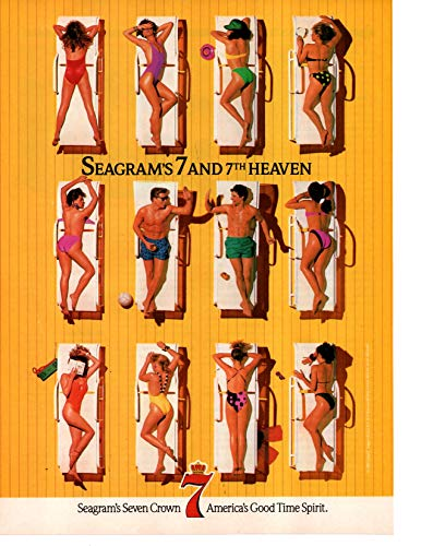 Magazine Print Ad: 1989 Seagram's 7 Crown and 7th Heaven, Suntanning scene,
