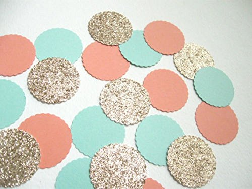 Designs by DH Confetti 100 pieces Paper Scalloped Circles Teal Coral Peach Gold Birthday Wedding Party Decor ()