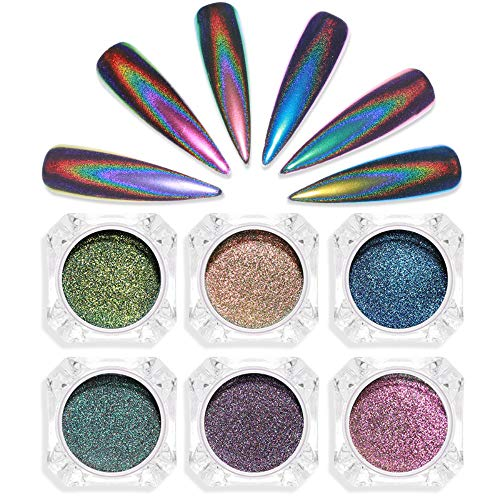 6 Colors Nail Glitter Dust Peacock Holographic Powder Chrome Art Rainbow Pigment Mirror Effect DIY Nail Decoration Set