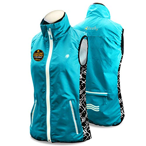 - KwikSafety FIREFLY | Women All Year Racing Sport Vest | High Performance Recreational Sport Athletic Wear | 360° High Visibility Running Cycling Jogging Walking Skiing Sleeveless Jacket | Blue X-Large