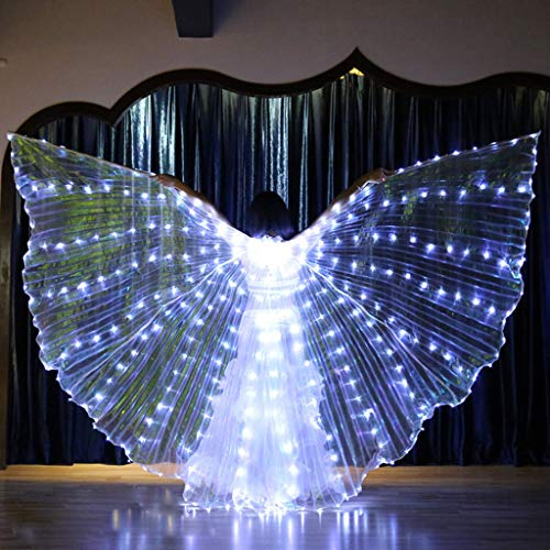 Chandelier Dancer Halloween (JHFUH LED Wings, with 316 Led Lamps and 1 Pair Telescopic Sticks, Glow Light Up Belly Dance Club Performance Clothing Fancy Dress up for Costume, Annual Shows)