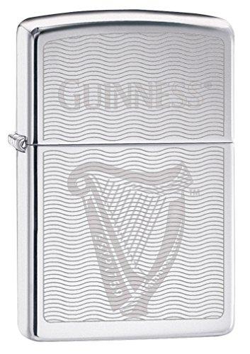 - Zippo Lighter: Guinness Beer Harp, Engraved - High Polish Chrome 79326