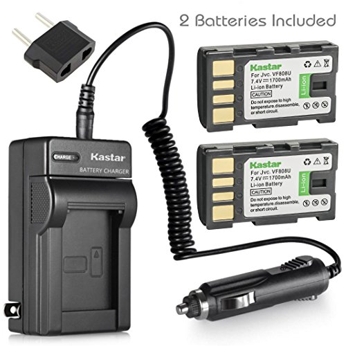 Battery (2-Pack) and Charger for JVC Everio GZ-HD300AU, GZ-HD300BU, GZ-HD300RU, Camcorder (Everio Jvc Camcorder)