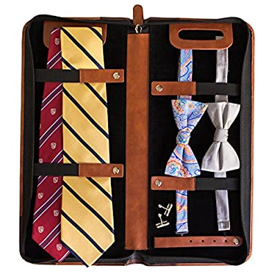 Vegan Leather Travel Tie Case - 6 Neck Tie Organizer by Case Elegance