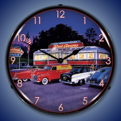Bruce Kaiser Red Arrow Diner Hotrod Lighted Clock by Collectible Sign and ()