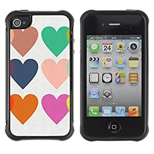 Suave TPU Caso Carcasa de Caucho Funda para Apple Iphone 4 / 4S / Hearts Love Teal Purple Orange White / STRONG