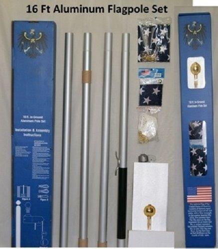 一流の品質 16 B01N6GWBZ5 '旗竿旗ポールSectionalアルミ旗ポールキット16 ' ' B01N6GWBZ5, 靴紐手芸紐の marui:b543f7c5 --- kiddyfox.in