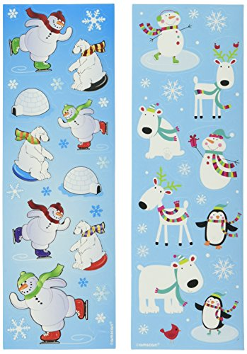 Amscan Christmas Winter Fun Printed Paper Strip Stickers, 8 Ct.   Party Favor ()