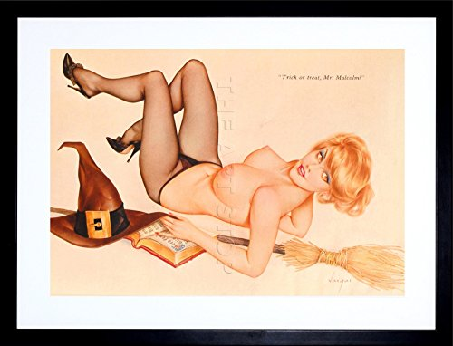 9x7 '' PIN UP HALLOWEEN WITCH TRICK TREAT SEXY LADY FRAMED ART PRINT F97X708]()