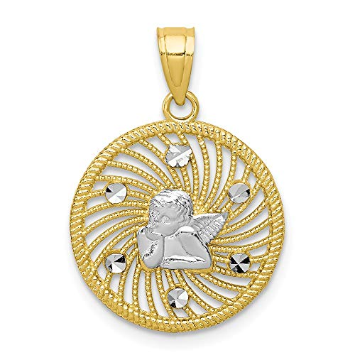10k Yellow Gold Angel Pendant Charm Necklace Religious Fine Jewelry Gifts For Women For Her
