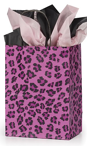 """Count of 100 Retail Medium Pink Leopard Print Paper Shopping Bag 8"""" x 4¾"""" x - Shopping 101 Mall"""