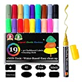 Chalk Markers, Ohuhu 19 Colors Dry Erase Markers Liquid Chalk Marker Pens with Erasable Ink and Reversible Tips, Neon Color Pens BONUS 40 Chalkboard Labels