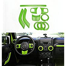 Opall Full Set Interior Decoration Trim Kit Steering Wheel Trim, Centrer Console Air Outlet Trim, Door Handle Cover Inner, Passenger Seat Handle Trim For Jeep Wrangler 2011-2016 2-door (Green)