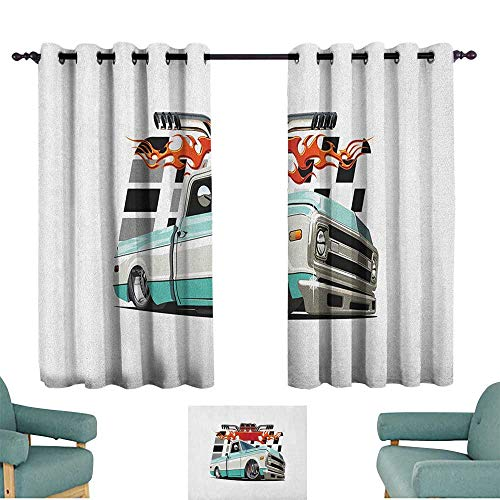 Lowrider Sliding Shorts - ParadiseDecor Truck,Thermal Curtains Lowrider Pickup with Racing Flag Pattern Background Speeding on The Streets Modified 100