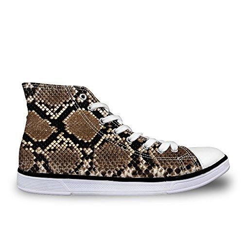 Lifegenius High Top Scarpe Di Tela Per Uomo Design Creativo Stampa Sneakers Piatte Stringate C0456ak