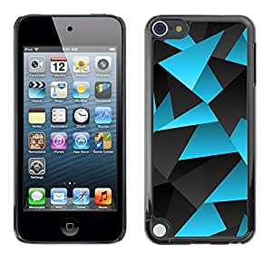 FlareStar Colour Printing Polygon Blue Grey Lines Pattern Carbon cáscara Funda Case Caso de plástico para Apple iPod Touch 5