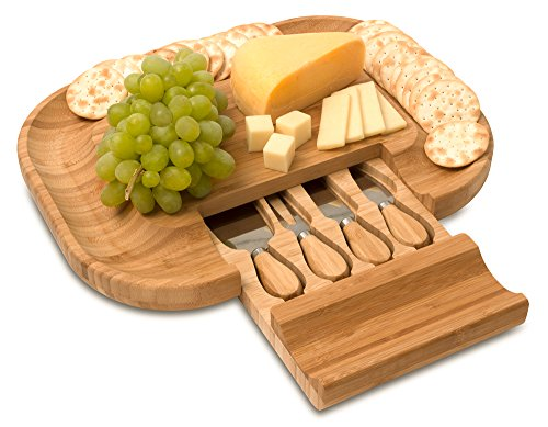 Mr. C's Cucina Bamboo Cheese and Charcuterie Meat Cutting Board With Cutlery Accessories and Utensils Including Knife Set and Spreading Tools in a hidden slide-out tray. The PERFECT gift idea! by Mr. C's Cucina (Image #1)