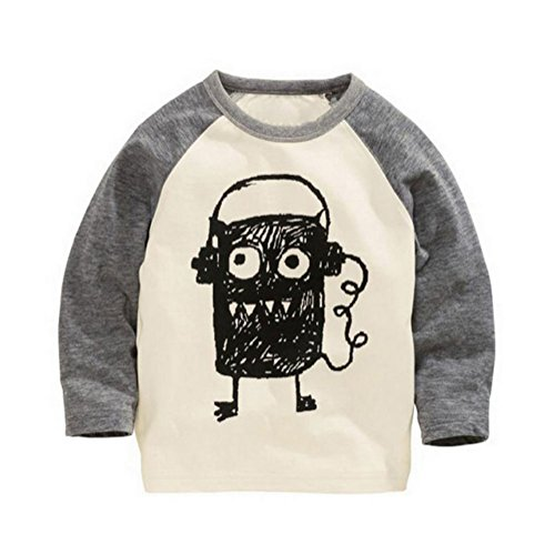 Monsters T Shirts (Soda Park Boys Doodle Big Eyes Monster Funny Long Sleeve T Shirt 4T,4T(3-4 Years),Beige + Gray)