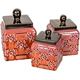 Red 3 Piece Ceramic Distressed Finish Fleur de Lis Canister Set