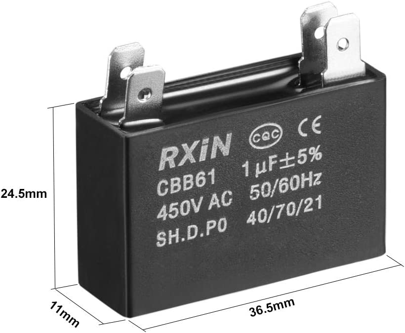 uxcell CBB61 Run Capacitor 450V AC 3.5uF 2 Insert Metallized Polypropylene Film Capacitors for Ceiling Fan
