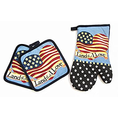Americana Print Oven Mitt and 2 pc Pot Holders Set (Heart)