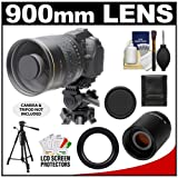Polaroid 900mm f/8 Mirror Lens and 2x Teleconverter (= 1800mm) with 57-inch Tripod + Accessory Kit for Canon EOS 60D, 7D, 5D Mark II III, Rebel T3, T3i, T4i Digital SLR Cameras, Best Gadgets