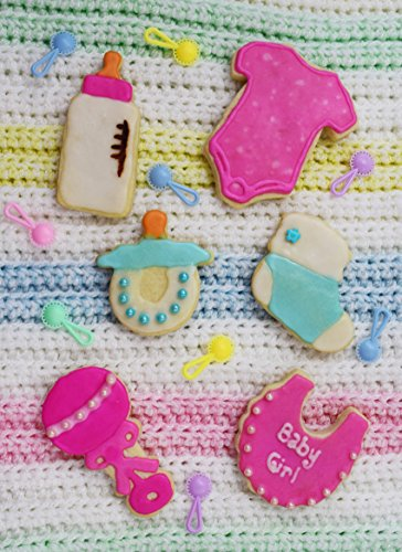 R&M International 1812 Baby Shower and Party Cookie Cutters, Bodysuit, Bottle, Pacifier, Bootie, Bib, Rattle, 6-Piece Set