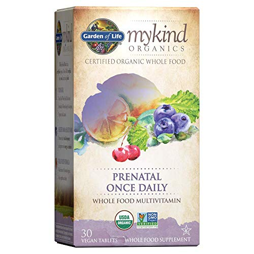 Garden of Life Organic Prenatal Multivitamin Supplement with Folate - mykind Prenatal Once Daily Whole Food Vitamin, Vegan, Organic, Non-GMO & Kosher, 30 Tablets