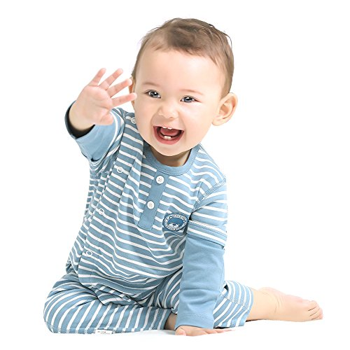Blue One Piece Outfit - COBROO Unisex Baby Uunion Suits Outfit Clothes Romper Blue One Piece Outfit 6-9 Months