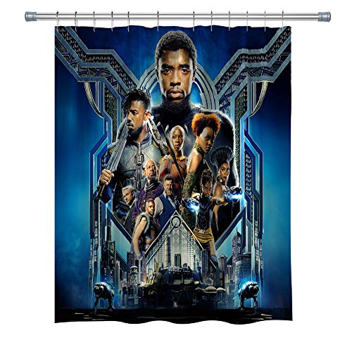 Marvel Series Movies Shower Curtain,Black Panther Superhero Custom Made Waterproof Polyester Fabric Shower Curtain for Bathroom, Bathroom Accessories with Hooks, 71X 71 in