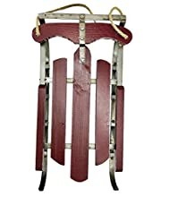 Holiday Old Fashioned Style Red Wood & Iron Sled with Natural Jute Rope Accent (Large)