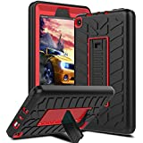 Venoro Case for All-New Amazon Fire 7 Tablet, Shockproof Armor Defender Protective Case Cover with Kickstand for Amazon Kindle Fire 7 (7th Generation - 2017 Release Only) (Black/Red - A)