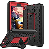 Innens ALL-New Amazon Fire 7 case, 3 in 1 Hybrid Heavy Duty Shockproof Protective with Built-in KickStand & Tyre Tread Design for New Amazon Fire 7 (7th Generation-2017Release) (Red+Black)