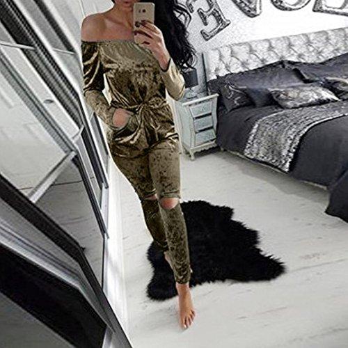 93bc7bb5df Kwok Ladies Evening Party Rompers Off Shoulder Shiny Velvet Jumpsuit hot  sale 2017