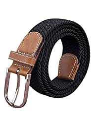 KINDOYO Canvas Stretch Elasticated Woven Belts for Men Women Many Colours Available Black