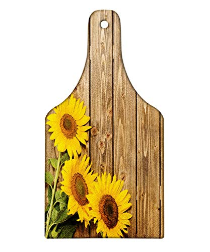 Lunarable Sunflower Cutting Board, Three Sunflowers on Wooden Background at Top Left Corner Picture Print, Decorative Tempered Glass Cutting and Serving Board, Wine Bottle Shape, Umber Earth Yellow